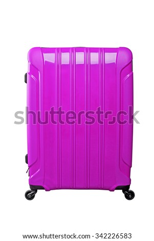 Purple travel bag on a black wheels, isolated on white background. - stock photo