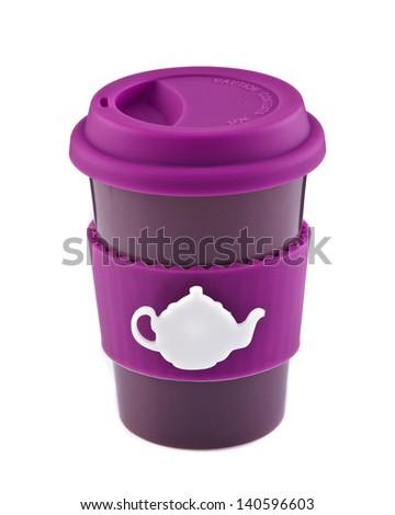 Purple travel mug isolated on white background - stock photo