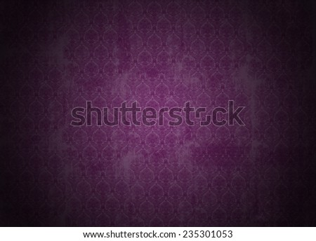 purple wallpaper illustration with victorian design, grunge background with ancient floral texture, vignette - stock photo