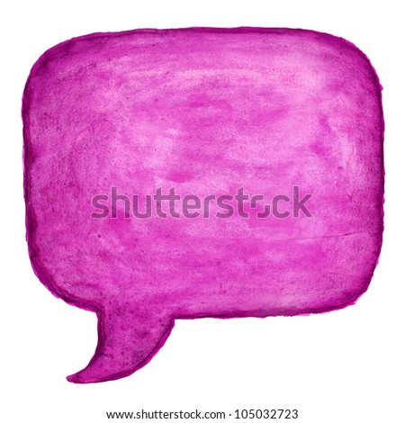 Purple watercolor blank speech bubble dialog square shape on white background - stock photo