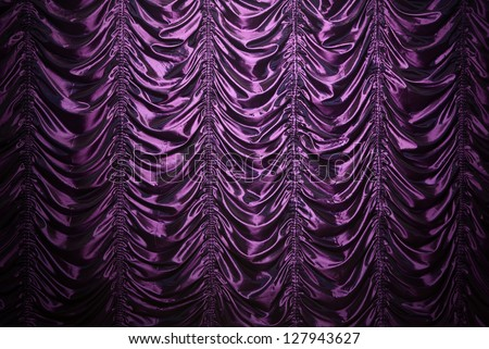 Purple waved silk curtain background with copy space - stock photo