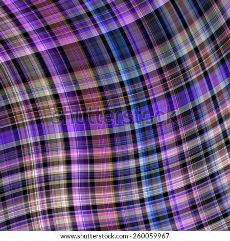purple waved tartan fabric plaid background - stock photo