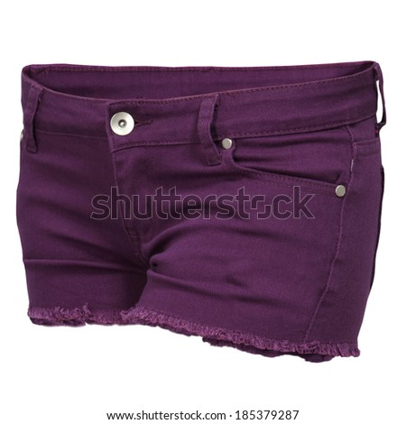 purple women's jeans Shorts isolated on white background  - stock photo