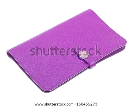 Purple womens leather wallet isolated on white background - stock photo