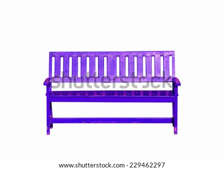 purple wood bench isolated on white background - stock photo