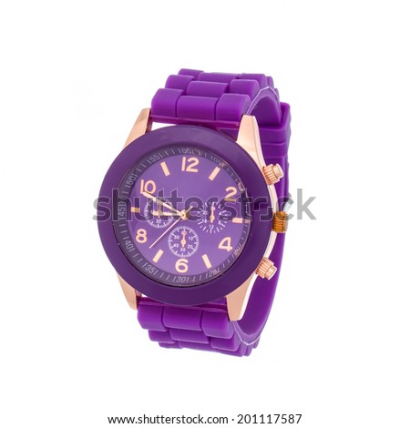 Purple wristwatch isolated on white background - stock photo