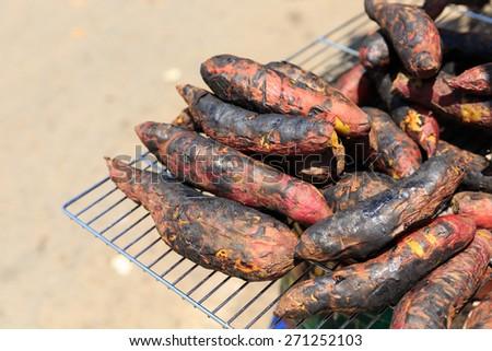 purple yam, sweet potatoes burn - stock photo