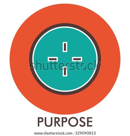 Purpose. sight. sense of purpose. Line icon with flat design elements. Flat icon. Flat Design. Icon concept.  - stock photo
