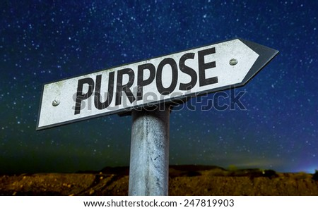 Purpose sign with a beautiful night background - stock photo