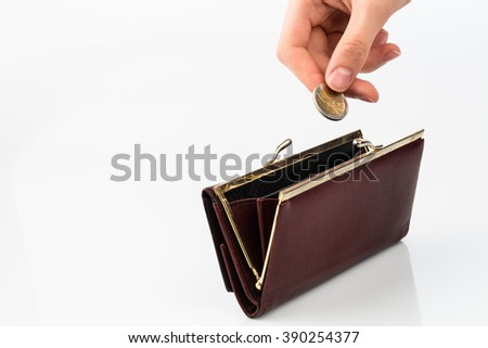 purse and coin - stock photo