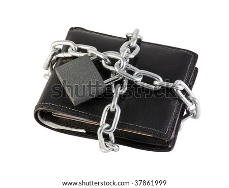 Purse coiled chain and closed at the castle - stock photo