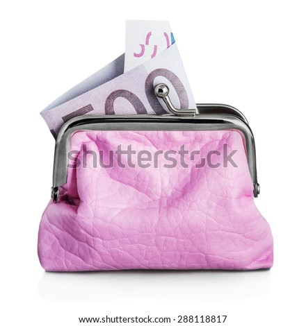 Purse euro banknote isolated on white background. Focus on the banknote - stock photo