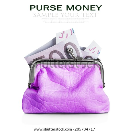 Purse euro banknote isolated on white background. Focus on the banknote. Sample text and deleted - stock photo