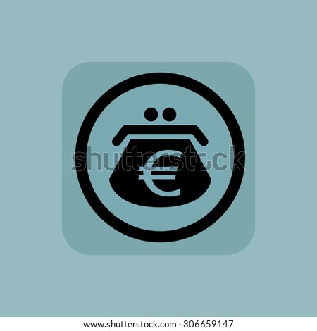 Purse with euro symbol in circle, in square, on pale blue background - stock photo