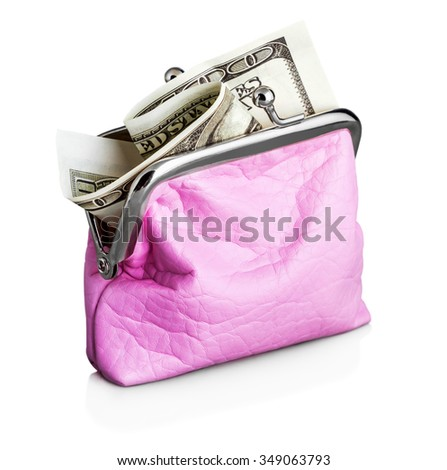 Purse with hundred dollar banknote isolated on white background  - stock photo