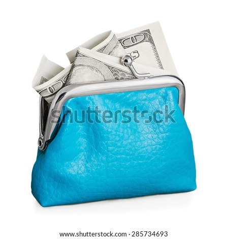 Purse with hundred dollar banknote isolated on white background. Focus is on the purse - stock photo