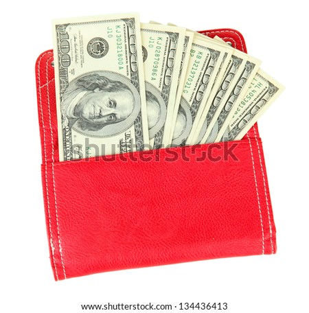 Purse with hundred dollar banknotes, isolated on white - stock photo