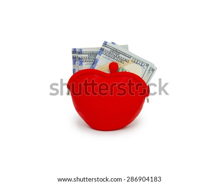 Purse with hundred dollar banknotes isolated on white background cutout - stock photo