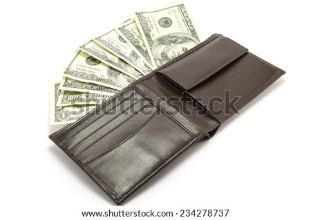 purse with money - stock photo