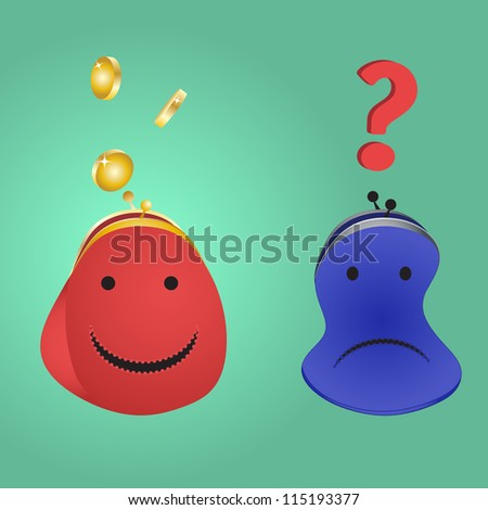 Purse with money and an empty purse with a question. The concept - wealth and poverty, an inequality. - stock photo