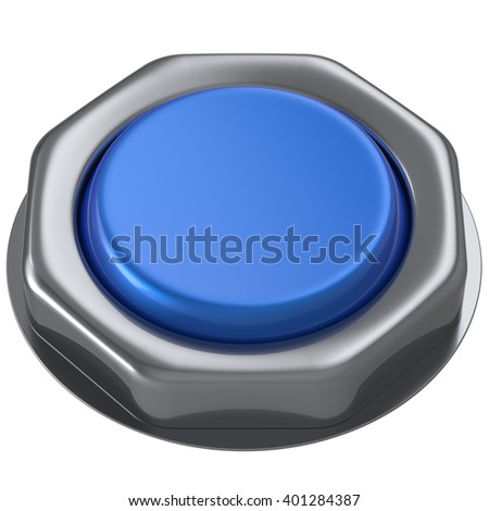 Push button blue down activate power switch start turn on off action ignition electric design element metallic shiny blank. 3d render isolated - stock photo