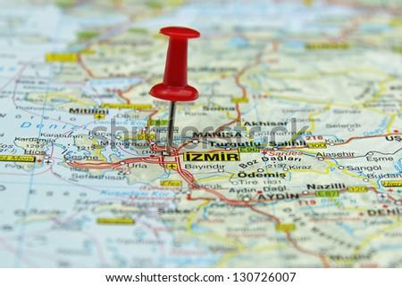 push pin pointing at Izmir, Turkey - stock photo