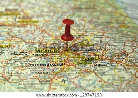 push pin pointing at Mexico City, Mexico - stock photo