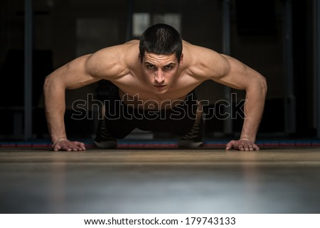 Push-Ups Lower Position - stock photo