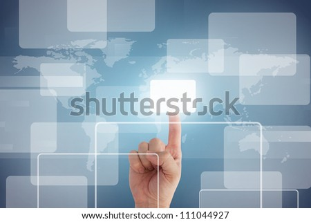 pushing digital button on touch screen interface - stock photo