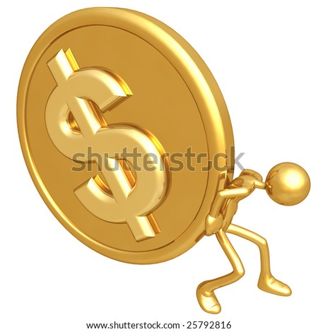 Pushing Gold Dollar Coin - stock photo