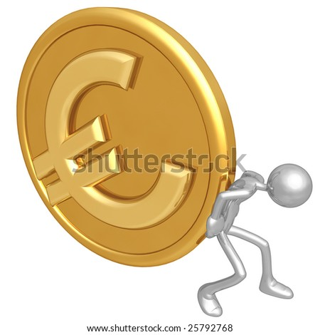 Pushing Gold Euro Coin - stock photo