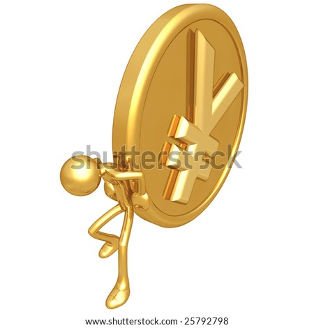 Pushing Gold Yen Coin - stock photo