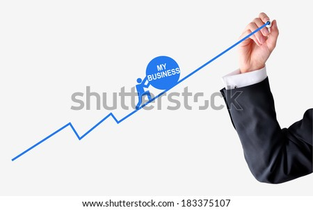 Pushing my own business - stock photo