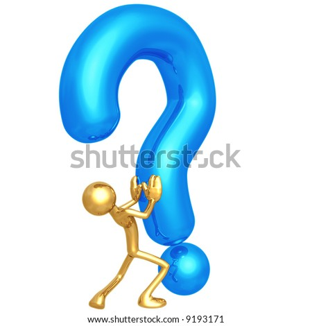 Pushing The Question - stock photo