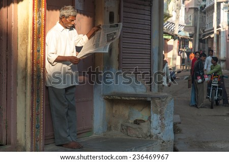 PUSHKAR, INDIA- JANUARY 6: Unidentified peopleare starting a new day in Pushkar on January 6, 2009 in Pushkar, Rajastan, India. - stock photo