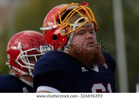 PUSHKIN, LENINGRAD OBLAST, RUSSIA - OCTOBER 10, 2015: Players of team Norway during the qualifying match of American Football European Championship 2016 against Russia. Russia won the match 20:0 - stock photo