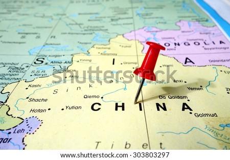 pushpin marking on China map - stock photo