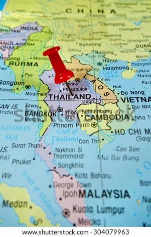 pushpin marking on Thailand map - stock photo