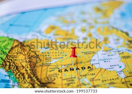 pushpin marking the location, Canada - stock photo