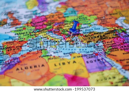 pushpin marking the location, Greece - stock photo