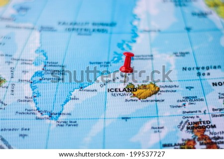 pushpin marking the location, Iceland - stock photo