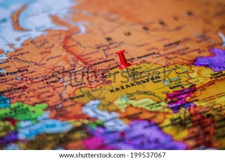 pushpin marking the location, Kazakhstan - stock photo