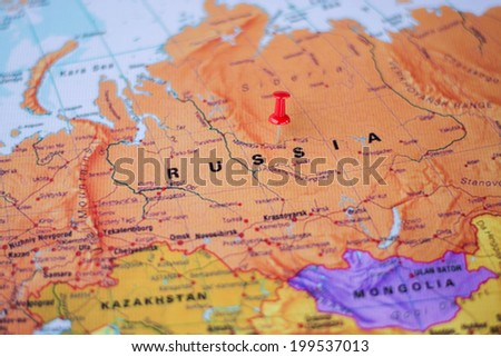 pushpin marking the location, Russia - stock photo