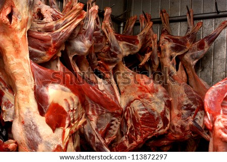 Put the meat in storage - stock photo