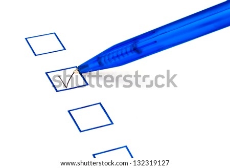 put tick in blue square box by blue pen - stock photo