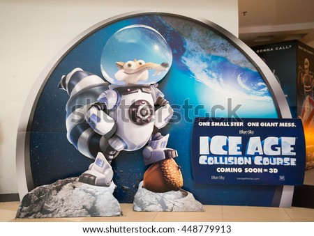 PUTRAJAYA, MALAYSIA - July 5, 2016: Ice Age: Collision Course poster displayed at Alamanda Putrajaya Mall. Its the fifth installment in the Ice Age film scheduled for release on July 22, 2016. - stock photo