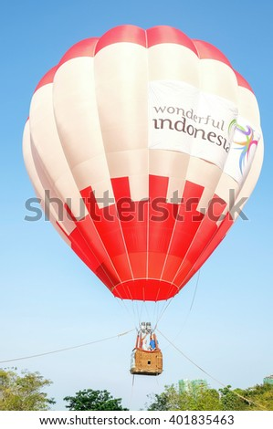 PUTRAJAYA, MALAYSIA - MARCH 12: Colourful hot air balloons at the 8th Putrajaya International Hot Air Balloon Fiesta in Putrajaya, Malaysia on March 12, 2016. - stock photo