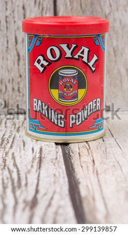 PUTRAJAYA, MALAYSIA - 22ND JULY, 2015. Royal Baking Powder is a product brand produce by Mondelez international Inc, an American multinational confectionery, food and beverage conglomerate. - stock photo