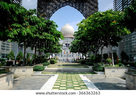 PUTRAJAYA, MALAYSIA  ?? NOVEMBER 01, 2015: Palace of Justice or the Istana Kehakiman in Putrajaya, Malaysia. It is a majestic looking building and houses of the judicial department and court.  - stock photo