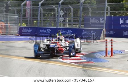 Putrajaya, Malaysia - November 7, 2015 : Portuguese Antonio Da Costa of Team Aguri enters turn 2 at FIA Formula-e ePrix Championship Putrajaya, Malaysia - stock photo